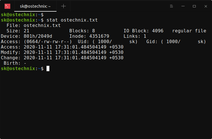 View Linux file timestamps with stat command