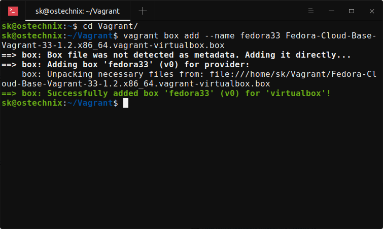 Add Downloaded .box File To Vagrant In Linux