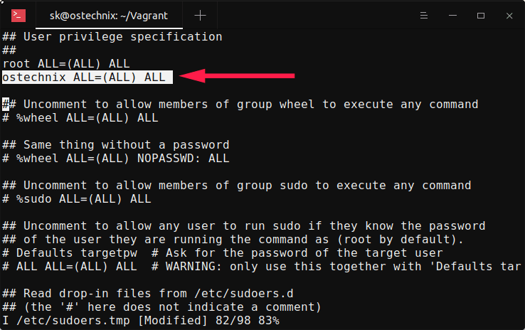 Add users in sudoers configuration file in Alpine Linux
