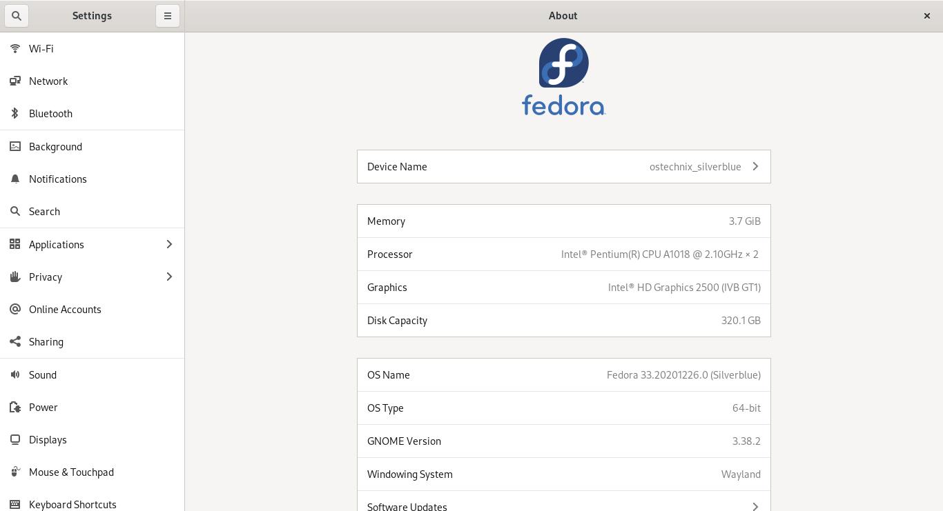 Check Fedora desktop OS version