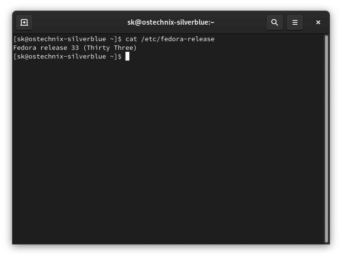 Check OS version in Fedora