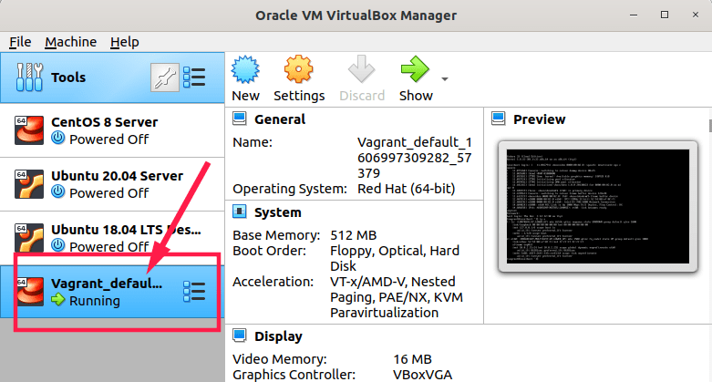 Fedora vagrant box is running under VirtualBox
