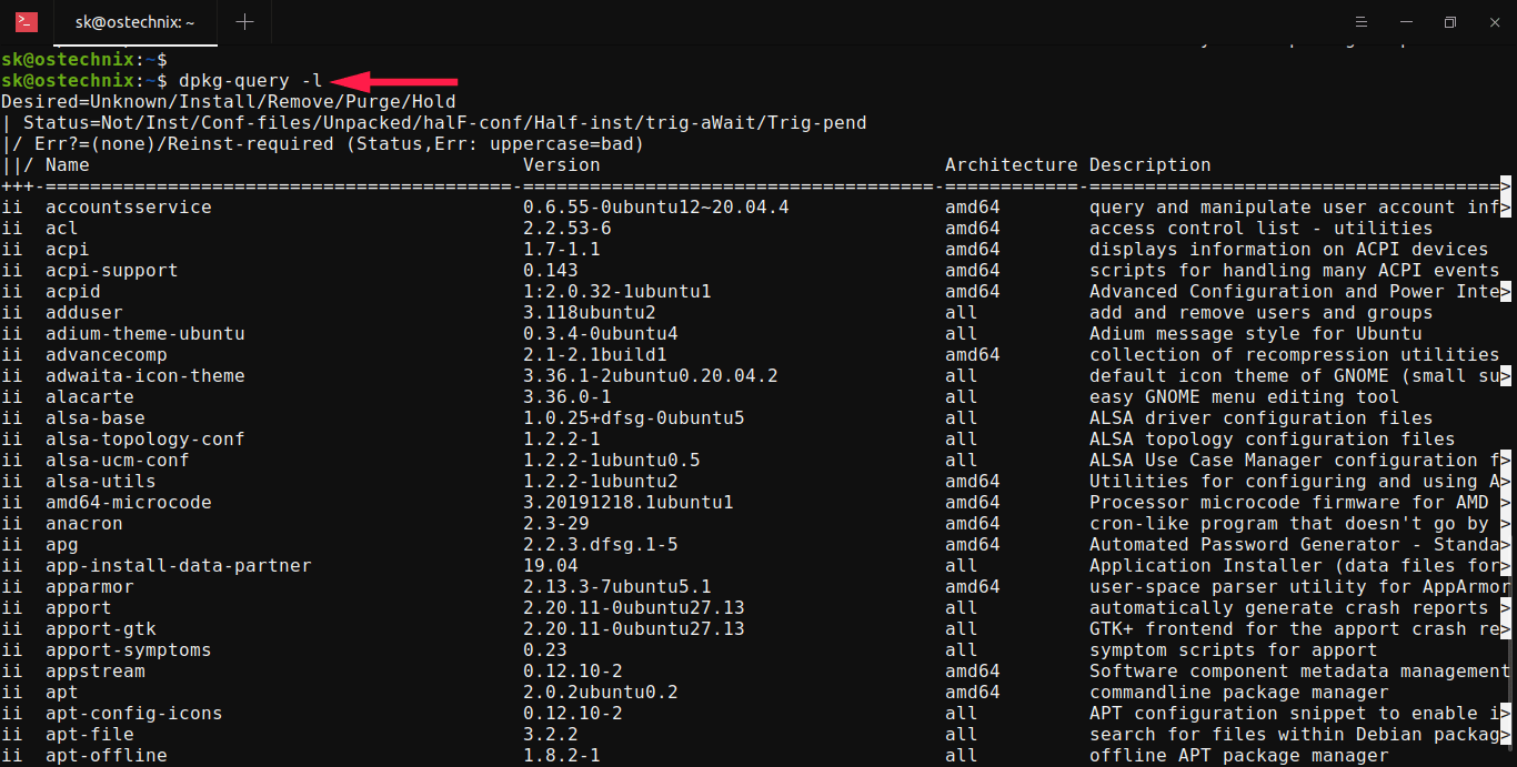 List all installed Debian packages using dpkg-query command