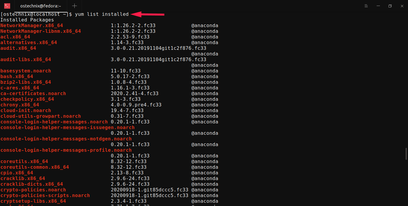 List installed packages in RHEL, Fedora, CentOS using yum command