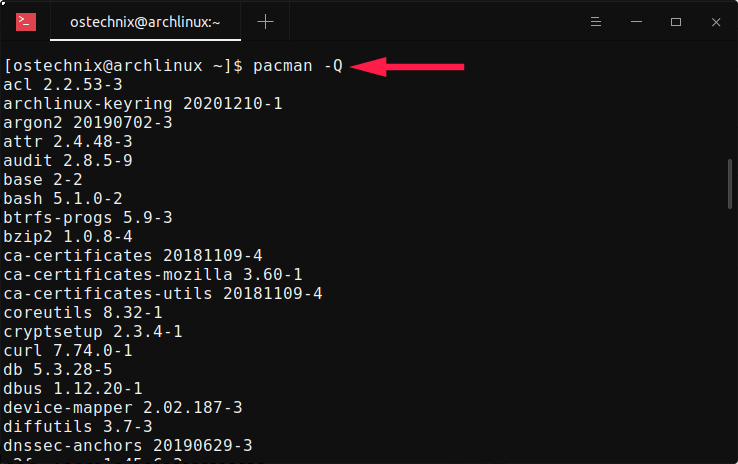 List installed packages using Pacman command in Arch Linux