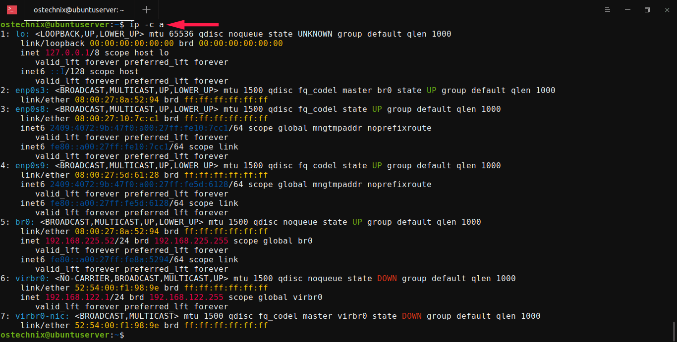 Display IP addresses in color with ip command