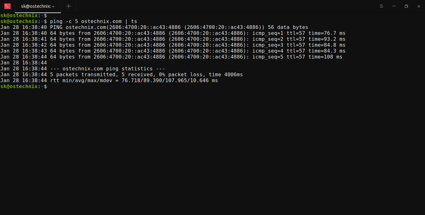Enable timestamp in Ping command output with ts command