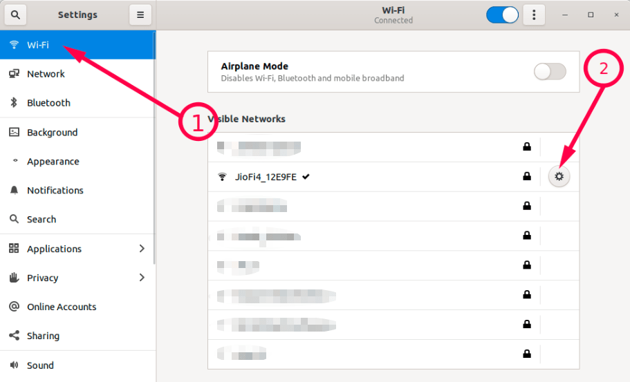 Open Wifi network settings