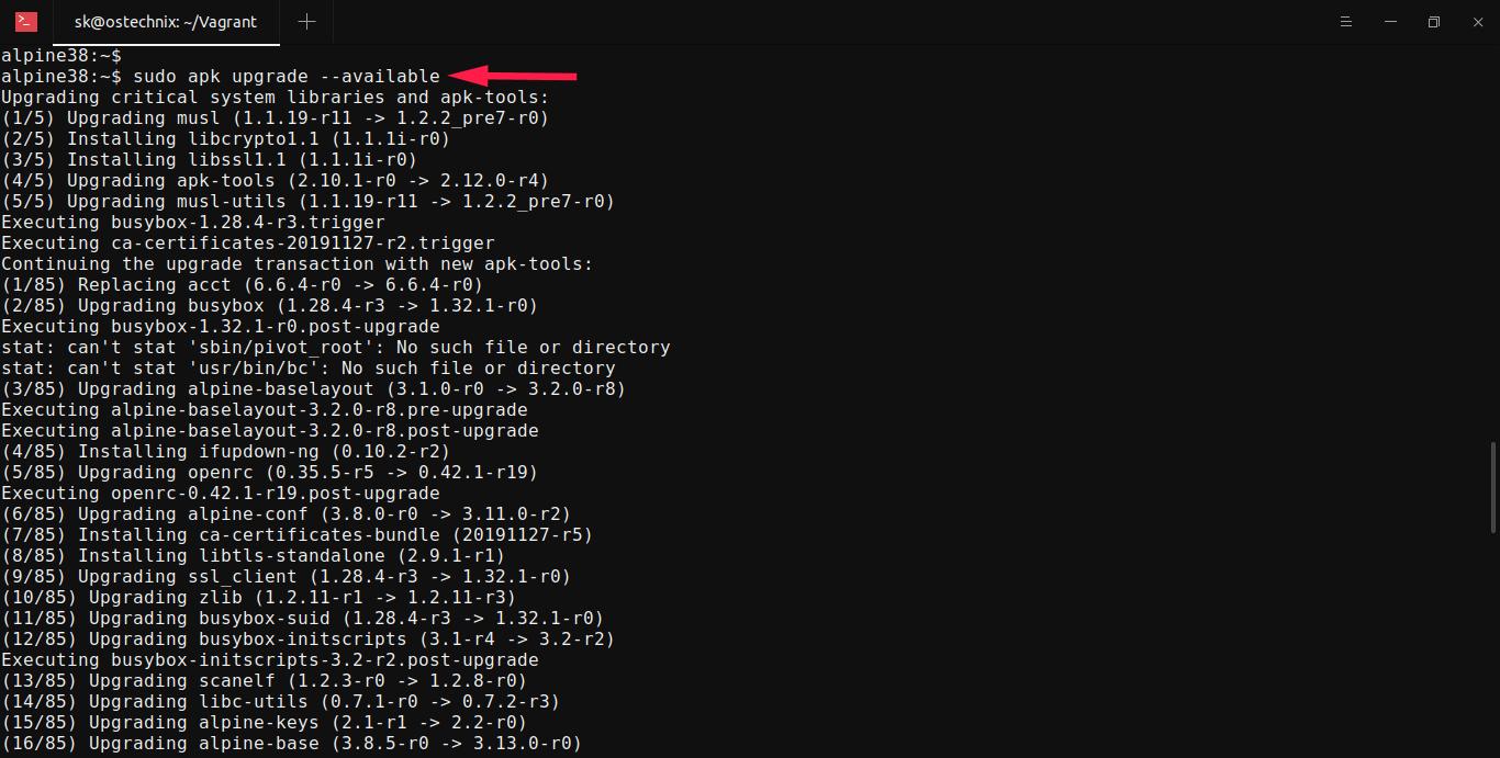 Upgrade Alpine Linux To Latest Version