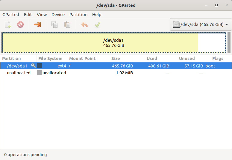 View disk partition details using GParted