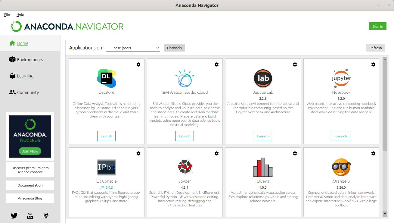 Anaconda Navigator graphical user interface