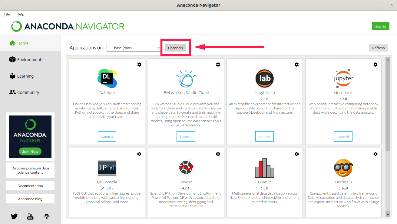 Click Channels button in Anaconda Navigator GUI