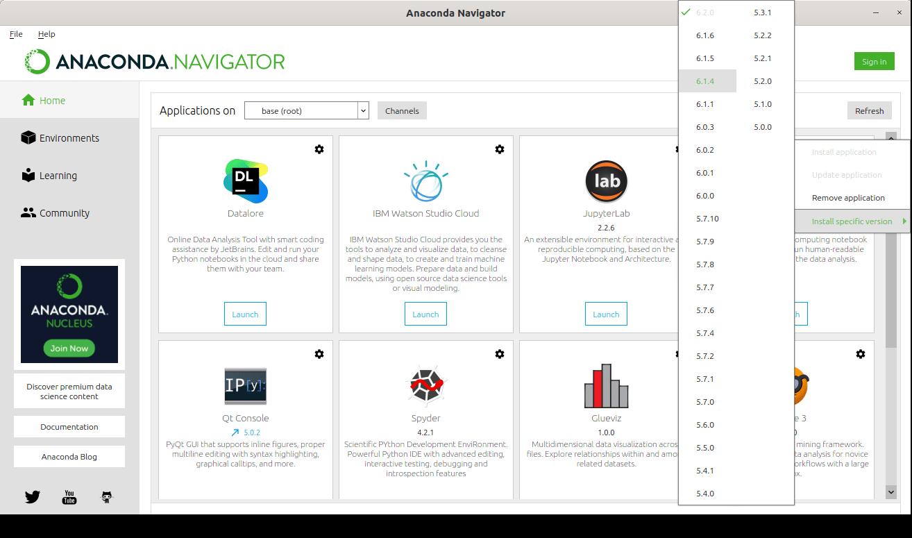 Install specific IDE version from Anaconda Navigator