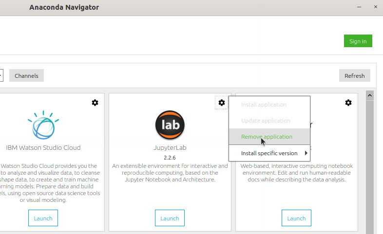 Remove IDE application from Anaconda Navigator