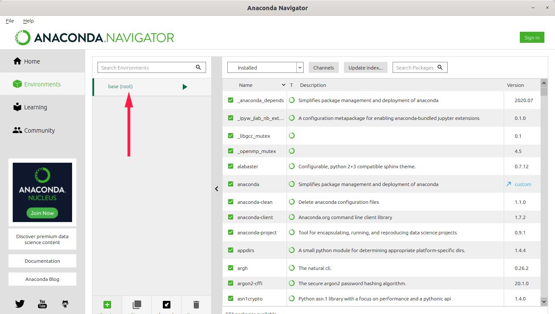 View conda environments in Anaconda Navigator GUI