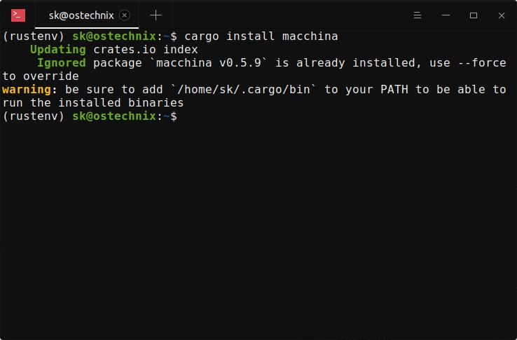 Add cargo bin directory to PATH