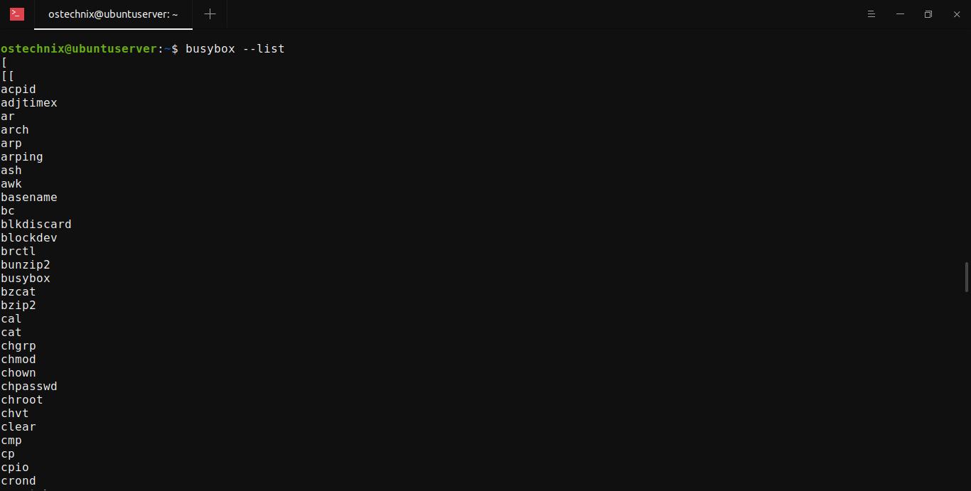 List busybox command line utilities