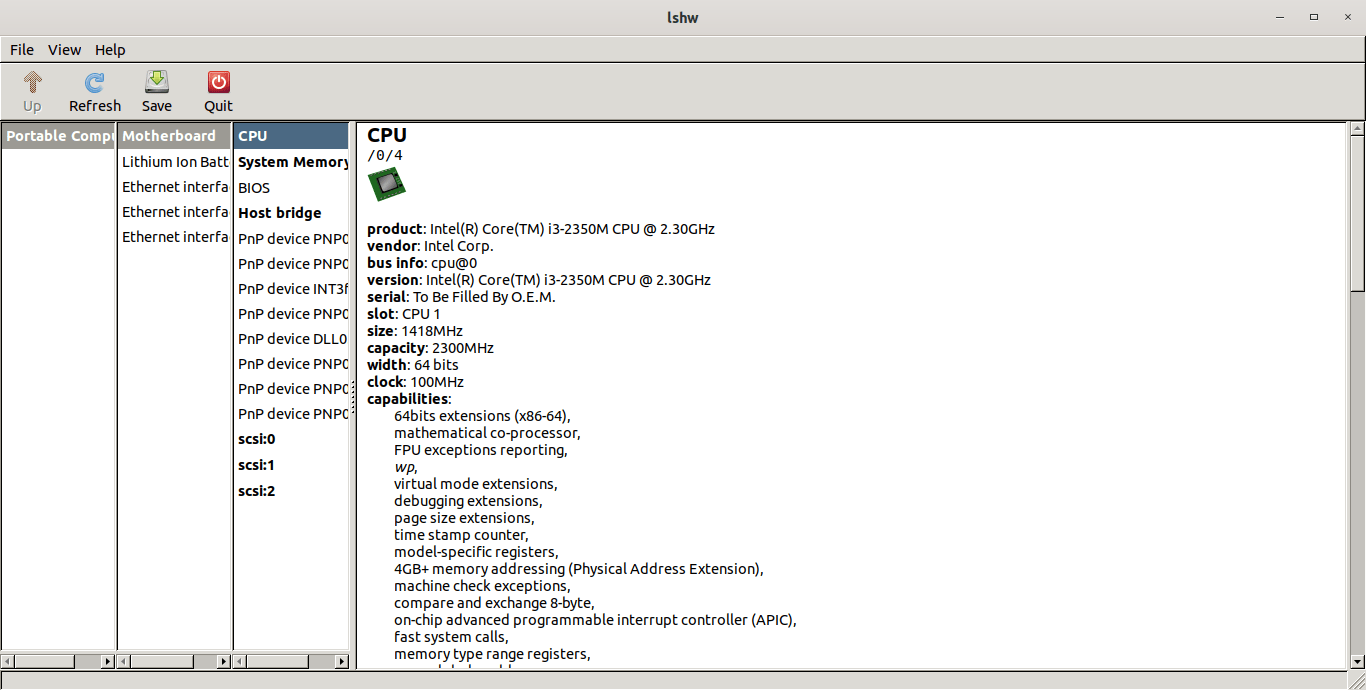 View processor information with lshw gui