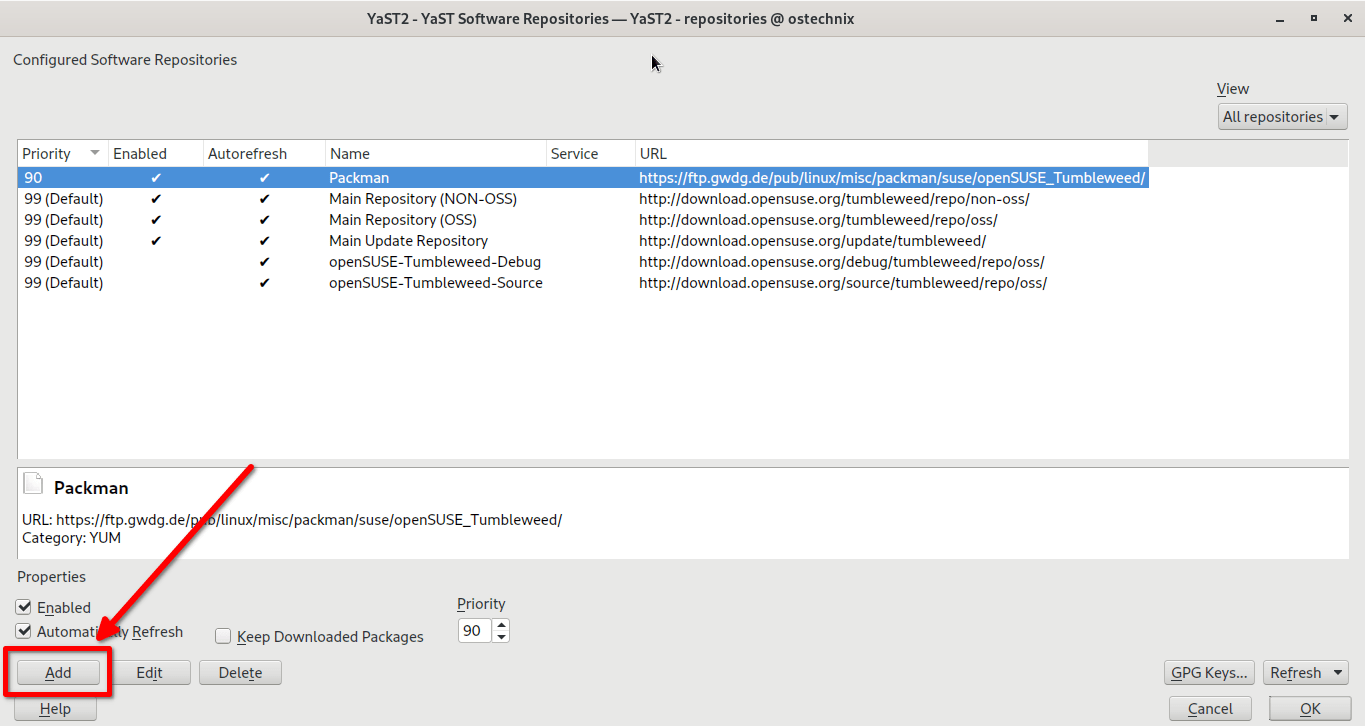 Add new repository from yast in opensuse