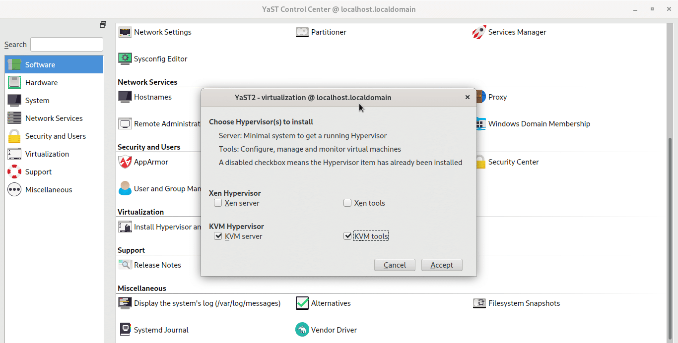 Install kvm server and kvm tools in opensuse tumbleweed