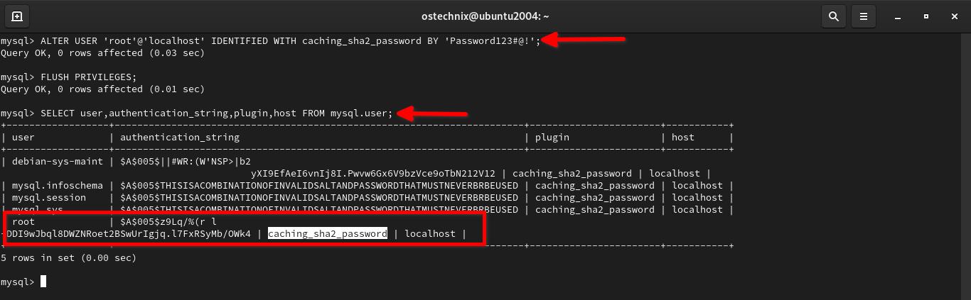 Cambie el complemento de autenticación para el usuario raíz de MySQL a caching_sha2_password