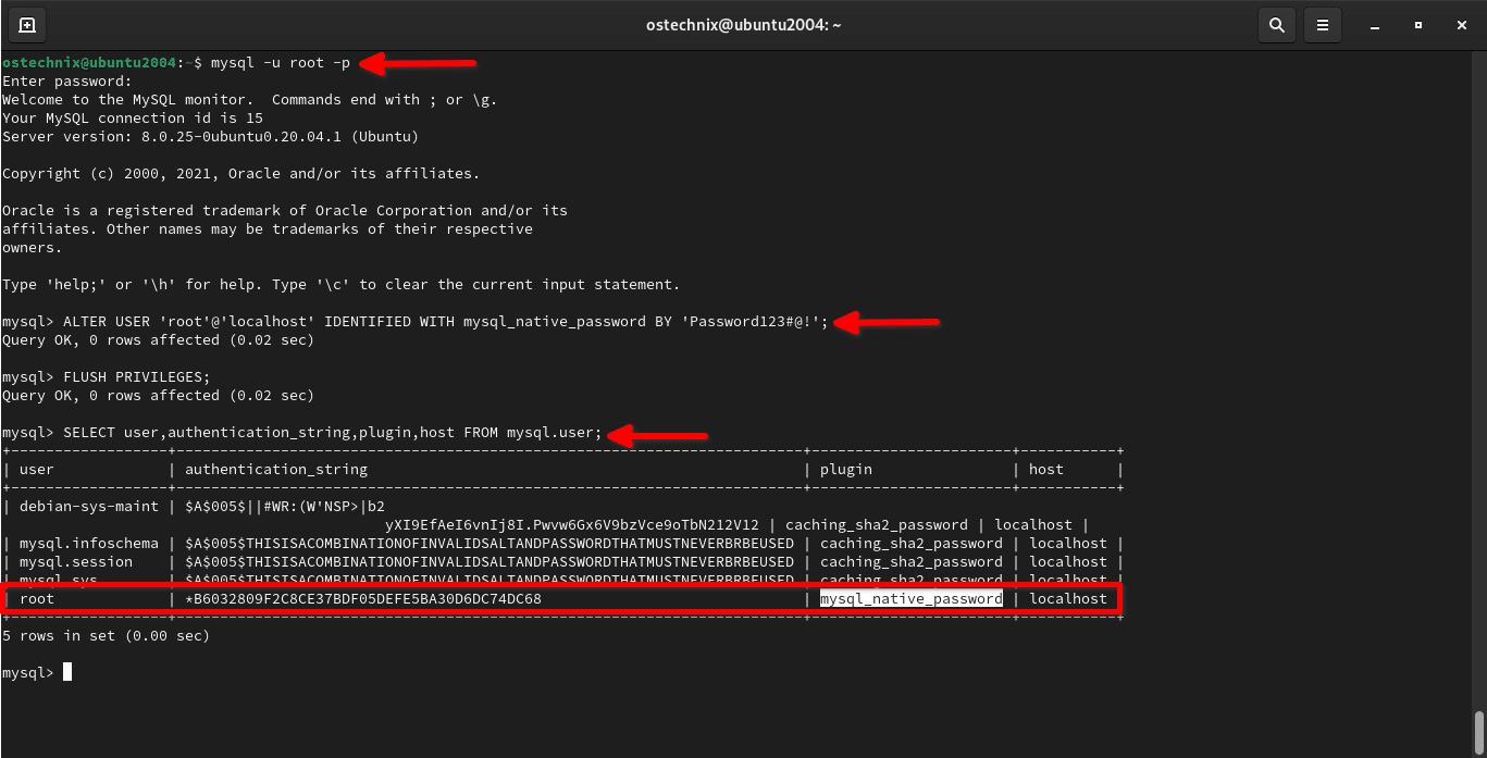 Cambie el complemento de autenticación a mysql_native_password para el usuario raíz de MySQL