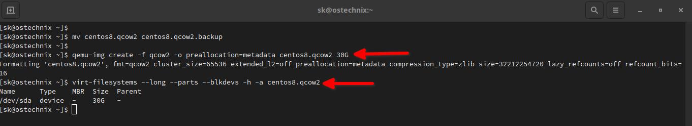 Create a new virtual disk image using qemu-img command