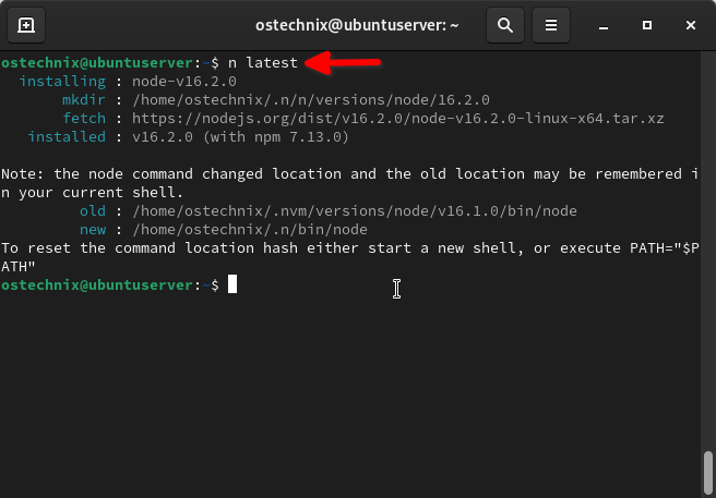 Install nodejs version with n in Linux
