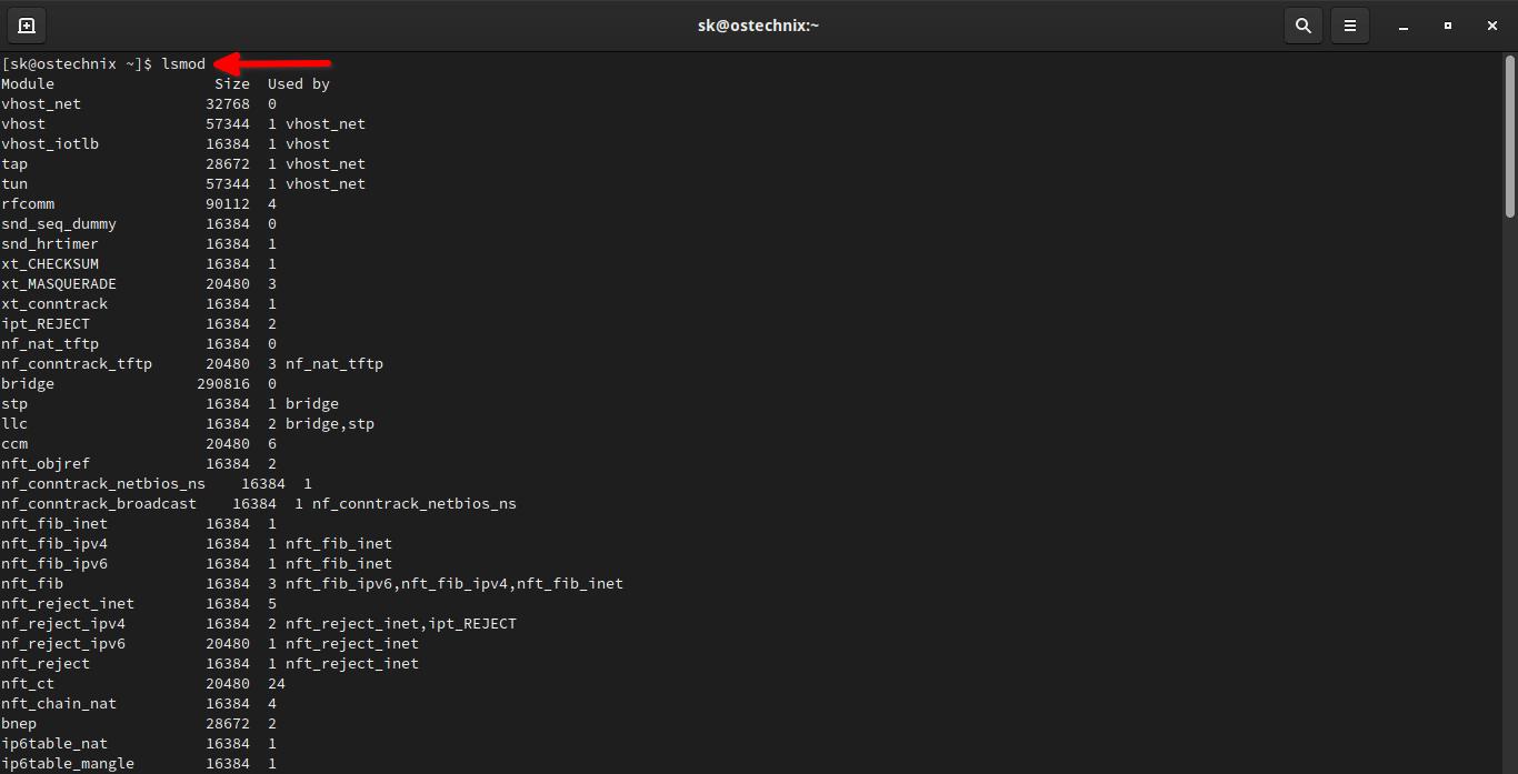 List Linux Kernel modules using lsmod command