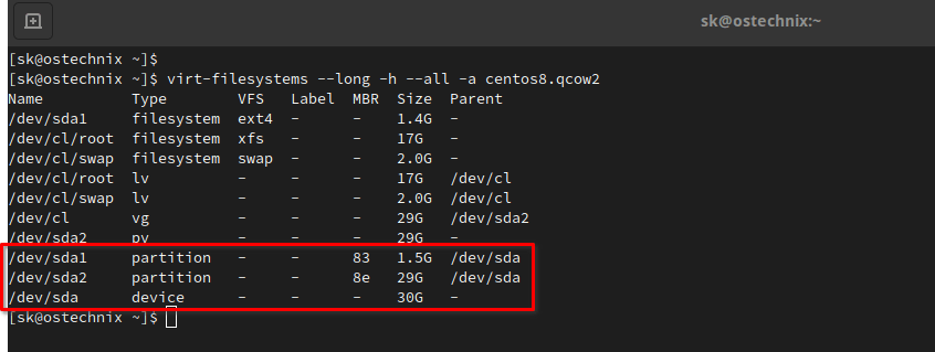 Print partitions and their sizes in KVM virtual machine disk using virt-filesystems command