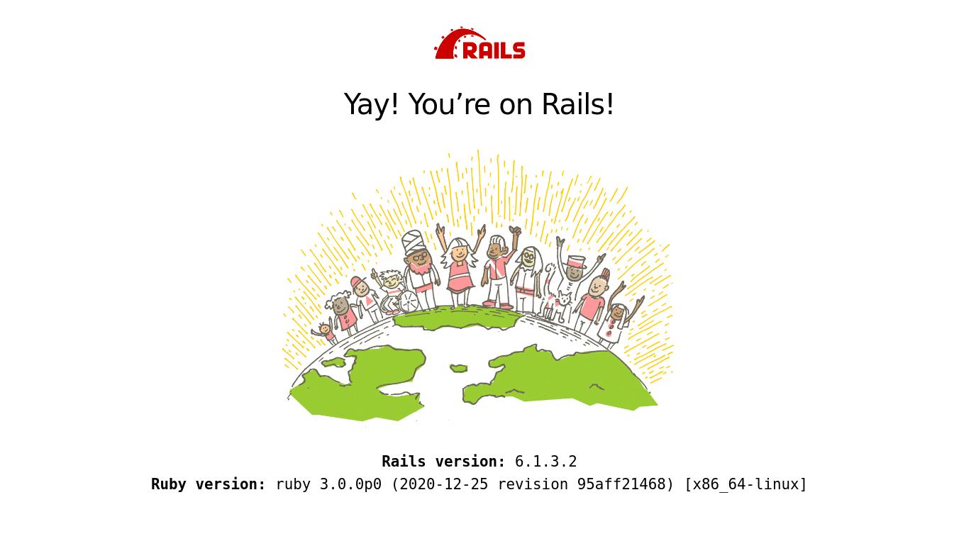 Página de prueba estándar de Ruby on Rails