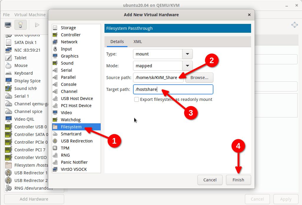 Setup a shared folder between KVM host and guest