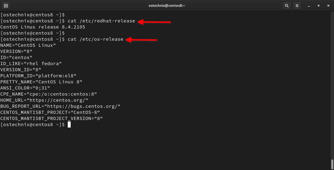 Check CentOS 8 version