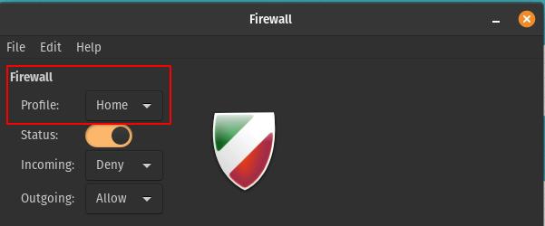 Choose firewall profile in Gufw