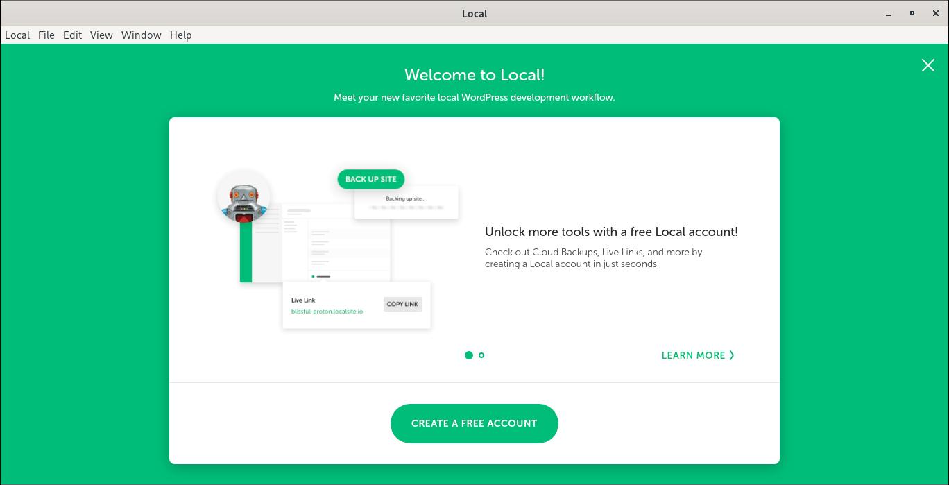 Create free Local account