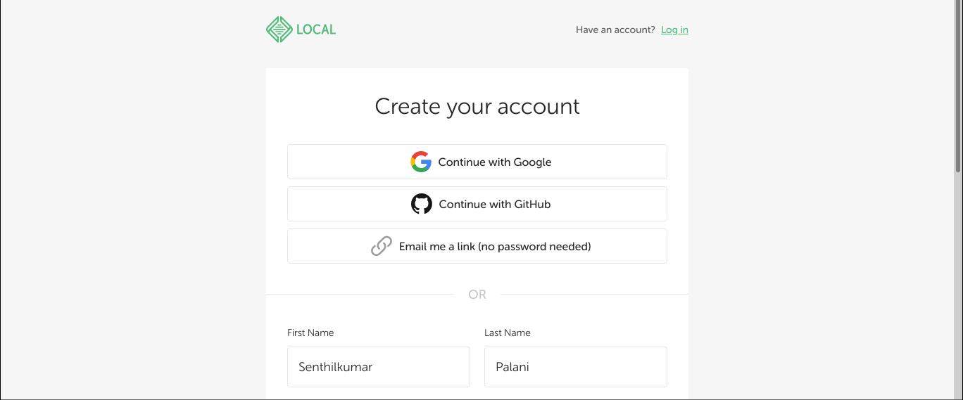 Create new account in LocalWP website