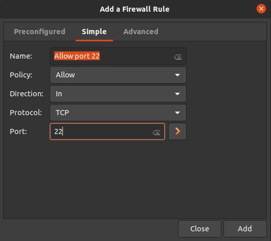 Create new firewall rule in Gufw