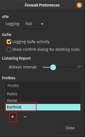 Create new profile in Gufw