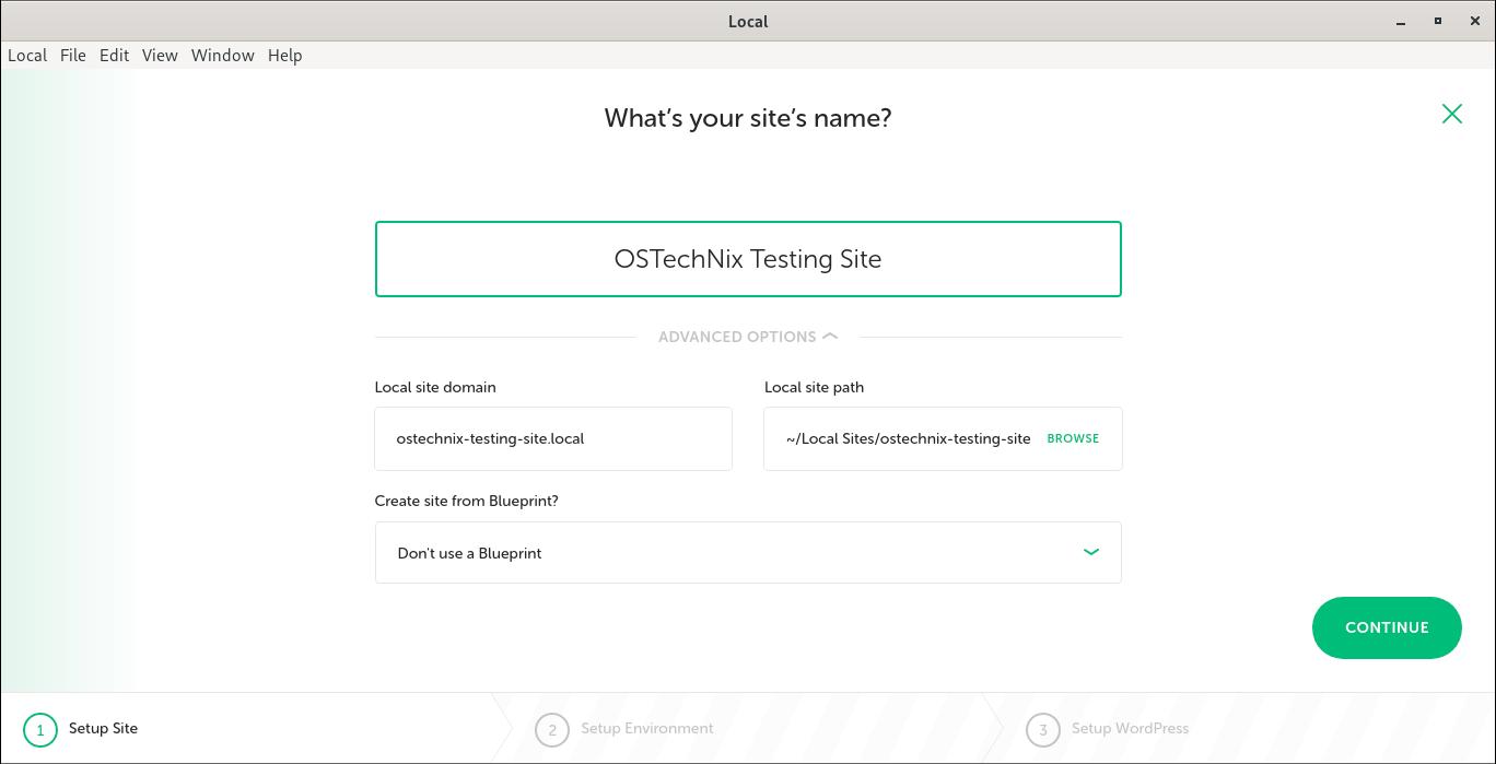Create new wordpress site in Local