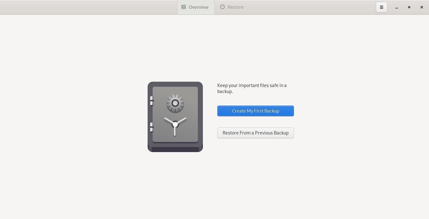 Deja Dup default interface