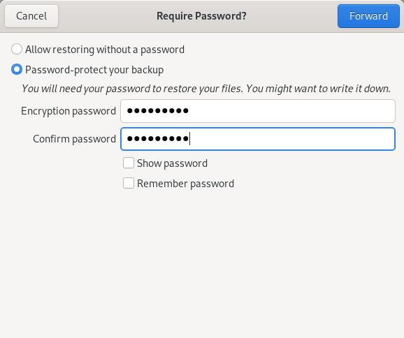 Encrypt backup data with Deja Dup