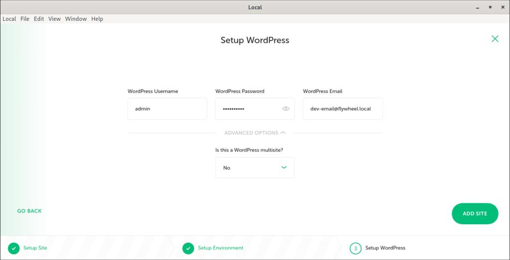 Enter Wordpress admin username and password