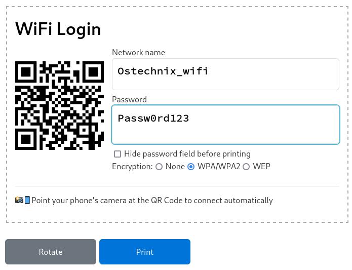 Imprima una tarjeta de código QR para conectarse a su WiFi con la tarjeta WiFi