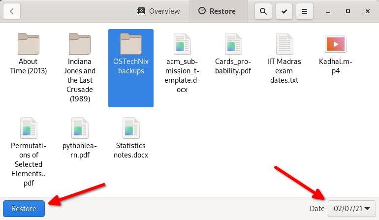 Restore files from backup with Deja Dup
