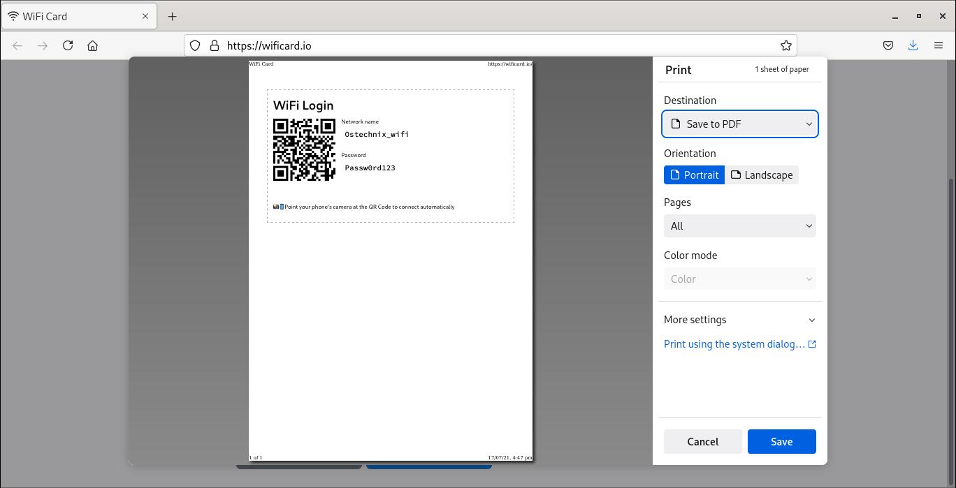 Guardar tarjeta Wifi con código QR