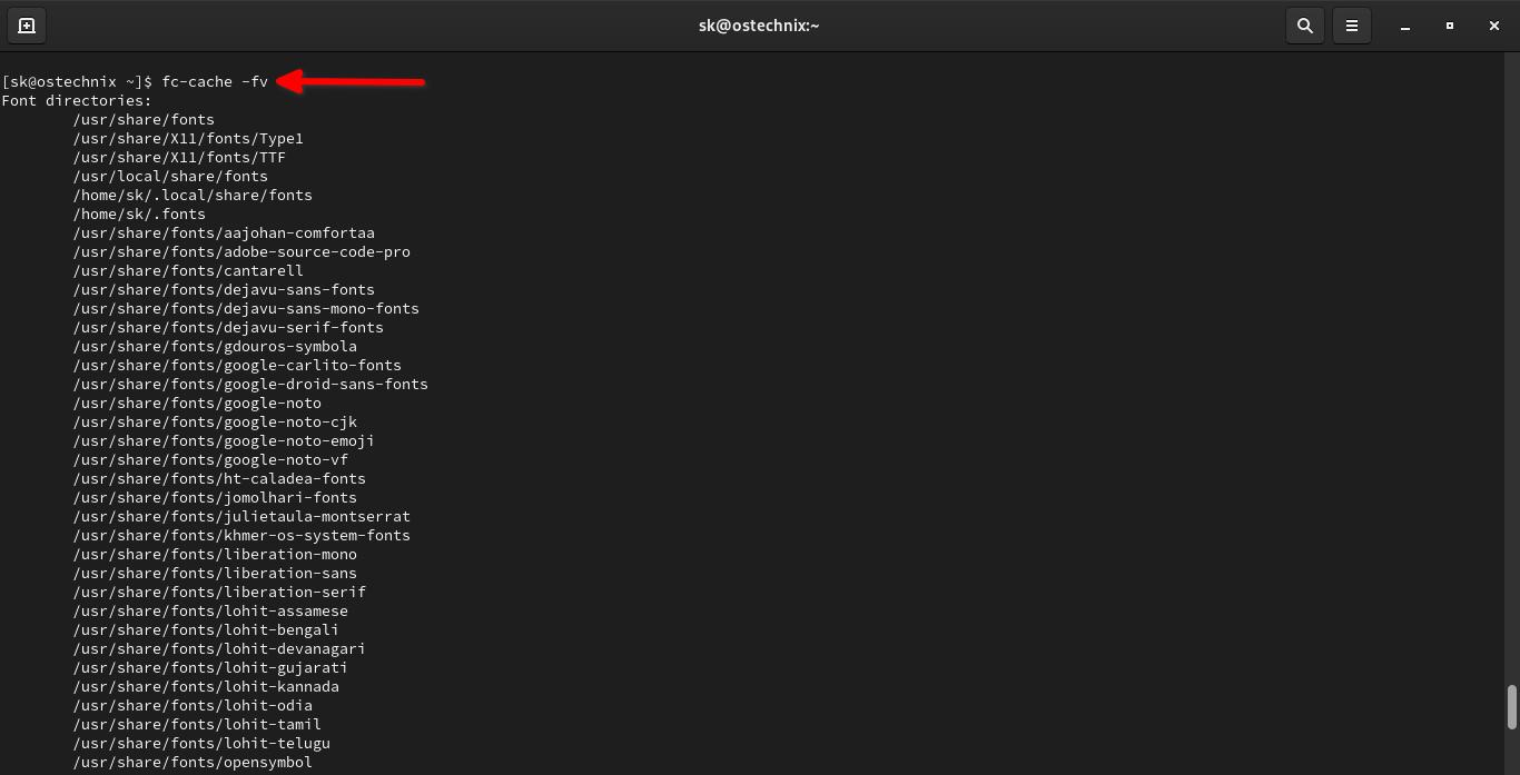Update font cache