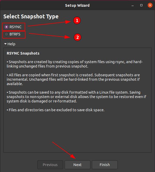 Choose Snapshot type in Timeshift