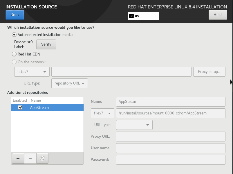 Choose installation source
