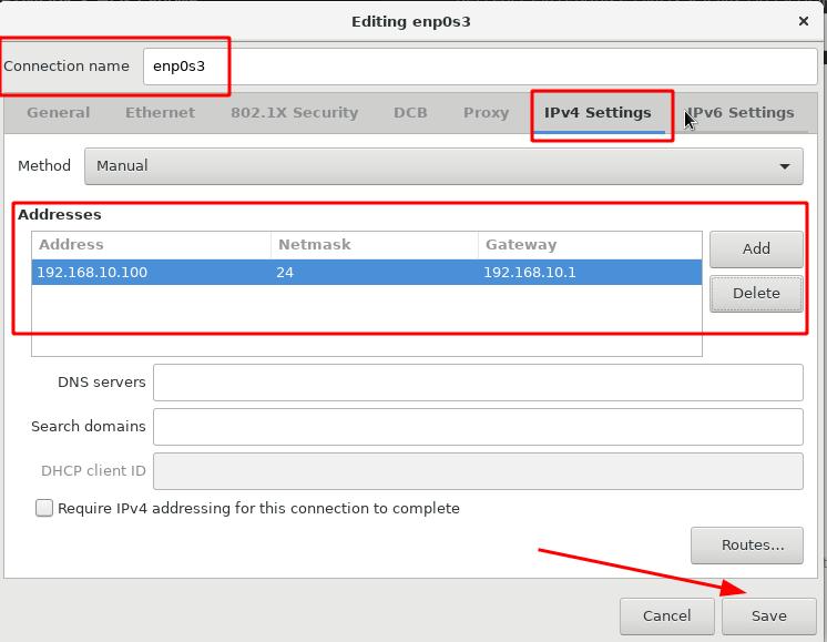 Configure static IP address