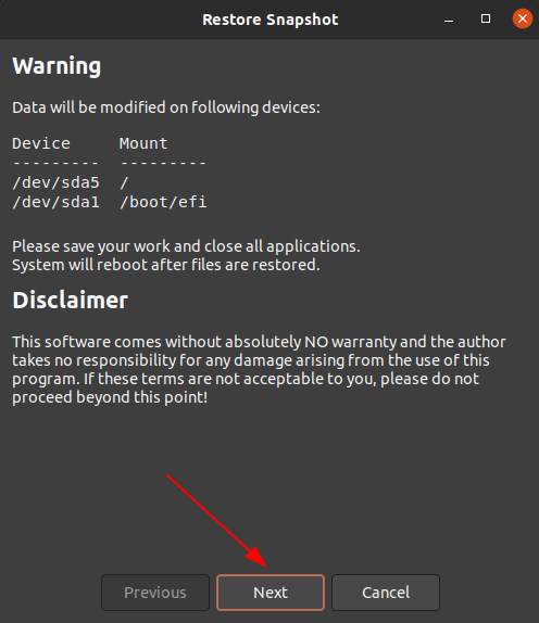 Confirm restoring snapshot in Timeshift